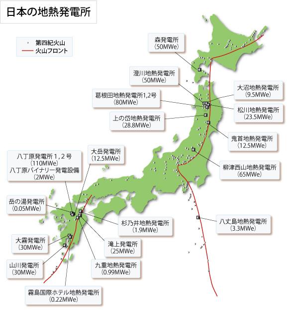 日本の地熱発電所(2007年度運転状況)
